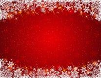 Fondo rojo con el marco de copos de nieve Fotos de archivo