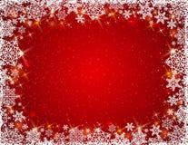 Fondo rojo con el marco de copos de nieve, vector Imagen de archivo libre de regalías