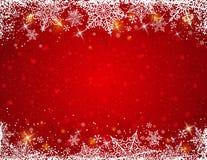 Fondo rojo con el marco de copos de nieve, vector Foto de archivo libre de regalías