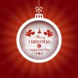 Fondo rojo con la chuchería de la tipografía de la Feliz Navidad Fotografía de archivo