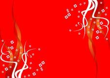 Fondo rojo con las flores Foto de archivo libre de regalías