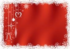 Fondo rojo con los copos de nieve. stock de ilustración