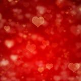 Fondo rojo con los corazones Fotografía de archivo libre de regalías