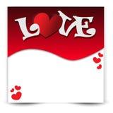 Fondo rojo con los corazones y texto para el día de tarjeta del día de San Valentín Imágenes de archivo libres de regalías