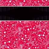 Fondo rojo con los ornamentos decorativos blancos Imagen de archivo libre de regalías