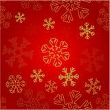 Fondo rojo con nieve de oro ilustración del vector