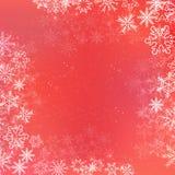 Fondo rojo de la bandera del cuadrado del invierno de la pendiente con el copo de nieve Imagenes de archivo