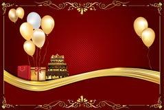 Fondo rojo de la celebración con los globos Fotos de archivo libres de regalías