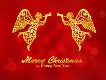 Fondo rojo de la Feliz Navidad con ángeles Fotografía de archivo