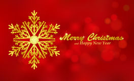 Fondo rojo de la Feliz Navidad con el copo de nieve Foto de archivo