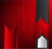 Fondo rojo de la flecha Imagen de archivo libre de regalías