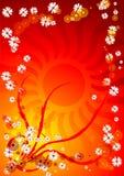 Fondo rojo de la flora libre illustration