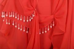 Fondo rojo de la joyería de la tela Fotografía de archivo