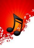 Fondo rojo de la música de la nota Fotografía de archivo libre de regalías