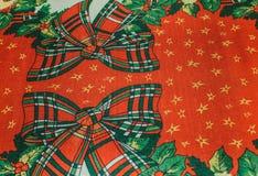 Fondo rojo de la materia textil de la textura de la Navidad con el verde blanco rojo b Fotos de archivo libres de regalías