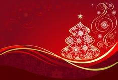 Fondo rojo de la Navidad con el árbol stock de ilustración