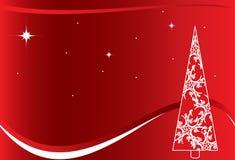 Fondo rojo de la Navidad con el árbol blanco stock de ilustración