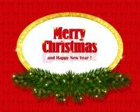 Fondo rojo de la Navidad con el marco chispeante Imagen de archivo