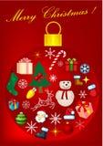 Fondo rojo de la Navidad con la Navidad e ilustración del vector