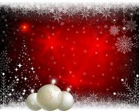 Fondo rojo de la Navidad con las bolas Imágenes de archivo libres de regalías