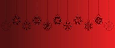 Fondo rojo de la Navidad con las bolas fotos de archivo