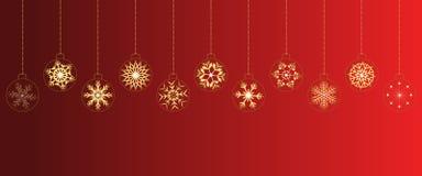 Fondo rojo de la Navidad con las bolas imagen de archivo