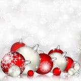 Fondo rojo de la Navidad con las bolas Foto de archivo