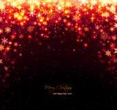 Fondo rojo de la Navidad con las estrellas y los copos de nieve imagenes de archivo