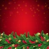 Fondo rojo de la Navidad con las ramas del abeto stock de ilustración