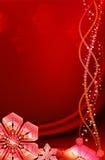 Fondo rojo de la Navidad con los copos de nieve. stock de ilustración