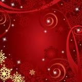 Fondo rojo de la Navidad con los copos de nieve fotografía de archivo