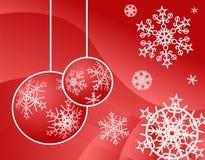 Fondo rojo de la Navidad con los copos de nieve Foto de archivo