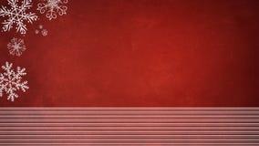 Fondo rojo de la Navidad con los copos de nieve Imágenes de archivo libres de regalías