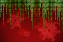 Fondo rojo de la Navidad con los copos de nieve verdes que caen Imagen de archivo libre de regalías