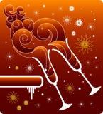 Fondo rojo de la Navidad con los vidrios libre illustration