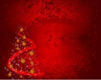 Fondo rojo de la Navidad del grunge con las decoraciones Foto de archivo