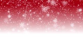 Fondo rojo de la Navidad inconsútil del lazo de Digitaces con el bokeh blanco y el día de fiesta descendente de la nieve de las e