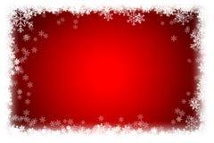 Fondo rojo de la Navidad simple con el copo de nieve Imágenes de archivo libres de regalías