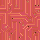 Fondo rojo de la placa de circuito del vector Foto de archivo
