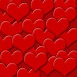 Fondo rojo de la tarjeta del día de San Valentín de los corazones stock de ilustración