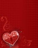 Fondo rojo de la tarjeta del día de San Valentín del corazón grande Fotos de archivo