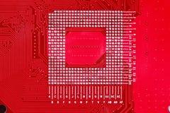 Fondo rojo de la textura de la placa de circuito de la placa madre del ordenador Imagenes de archivo