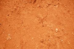 Fondo rojo de la textura del suelo, arcilla secada