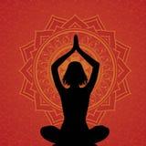 Fondo rojo de la yoga Imagen de archivo libre de regalías