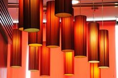 Fondo rojo de las lámparas Imagenes de archivo