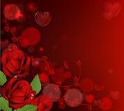Fondo rojo de las rosas del día de tarjetas del día de San Valentín Foto de archivo libre de regalías