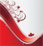 Fondo rojo de las tarjetas del día de San Valentín Foto de archivo libre de regalías