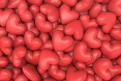 Fondo rojo de los corazones Fotografía de archivo