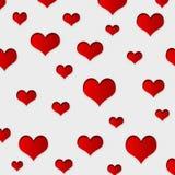 Fondo rojo de los corazones Foto de archivo libre de regalías