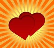 Fondo rojo de los corazones Foto de archivo